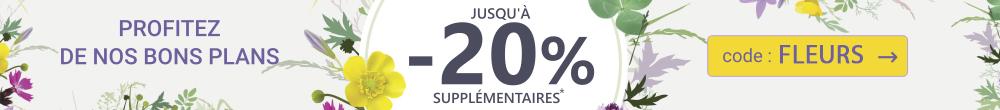 Jusqu'à -20% en PLUS sur une sélection de deals avec le code FLEURS jusqu'au 22 mars 2019 inclus !